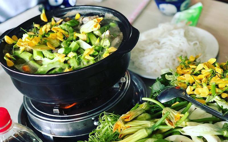 Cách nấu bún cá lóc - Bày biện món ăn