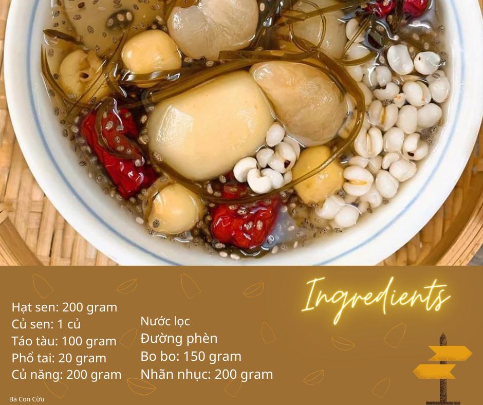 cách nấu sâm bổ lượng - nguyên liệu nấu chè