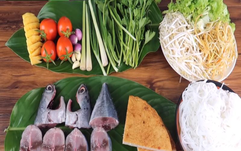 Nguyên liệu cần chuẩn bị cho món bún cá ngừ