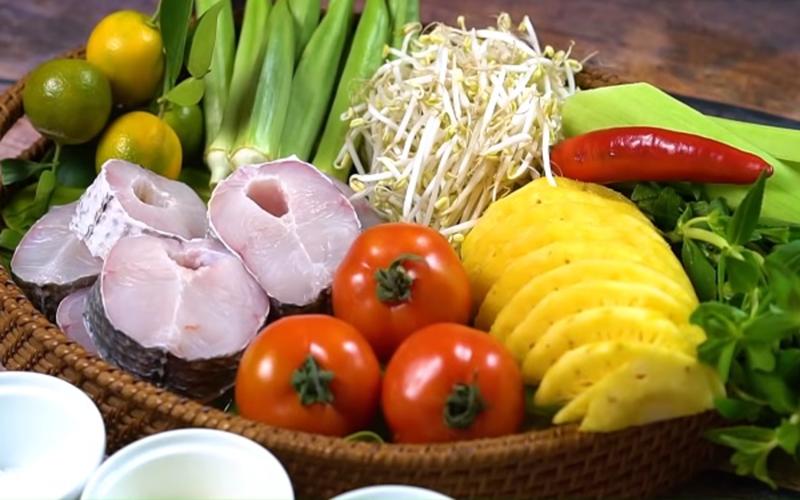 Nguyên liệu cần chuẩn bị cho món canh chua cá lóc